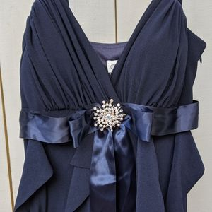 Cache Long Navy Blue Dress with Ruffles